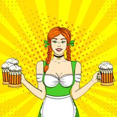 Pop art Germany Girl waitress carries five beer glasses. Concept oktoberfest. Comic book style imitation.