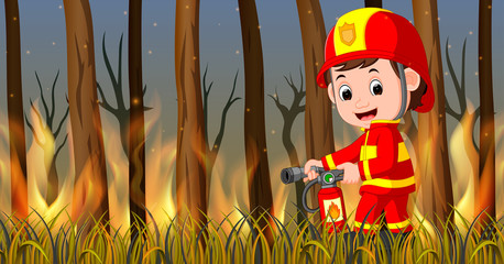 Fireman at the wild fire scene