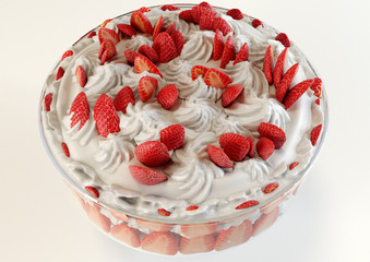 A 3D illustration of a strawberry meringue dessert