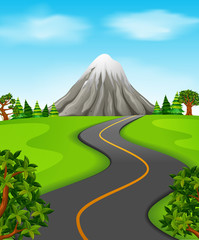 Illustration of a road going to the mountain