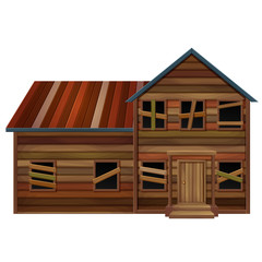 Wooden house in bad condition