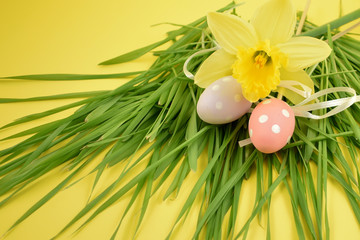 Easter eggs with daffodils stock images. Yellow daffodils with grass on a yellow background. Easter decoration on a yellow background. Spring decoration images. Decorated eggs with a flower