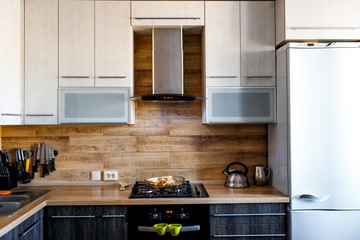 interior of small kitchen with wooden elements