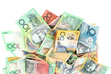 Group of colorful australian money banknote dollar (AUD) pile on white background