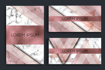 Elegant creative card templates set. Marble Texture and rose gold foil details. Graphic element for booklet design, flyer, card and cover. Vector illustration.
