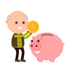 Old happy cute grandfather man tosses a coin