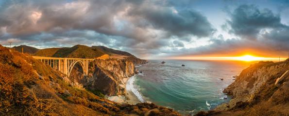 Wall Mural - California Central Coast with Bixby Bridge at sunset, Big Sur, California, USA