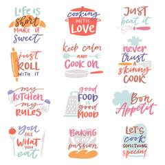 Estores personalizados con tu foto Cook sign vector cooking or bakery lettering and cookery or baking typography template to print illustration set of text with kitchenware isolated on white background