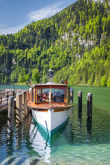 Traditional passenger boat on Königssee lake in summer, Bavaria, Germany
