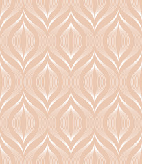 The geometric pattern with wavy lines. Seamless vector background. White and pink texture