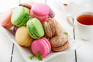 Sweet and colourful french macaroons.
