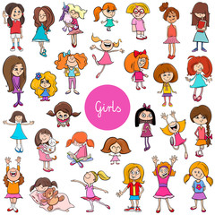 cartoon kid girls characters big set