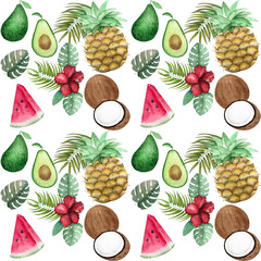 Watercolor pattern with tropical fruits