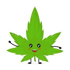 Cute funny smiling happy marijuana weed