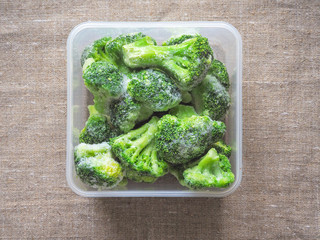 Broccoli in a plastic container for long-term storage. Deep freezing of vegetables.