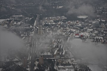 Aerial view of city Tallinn in foggy day