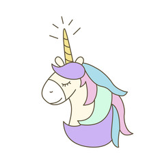 Illustration  with cute unicorn on white background.