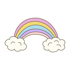 Illustration  with rainbow on white background.