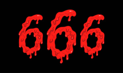 Cartoon illustration of the bloody numbers 666 on black background. Hell, death and satan symbol.