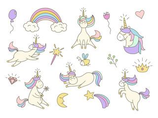 Set with cute unicorns on white background.