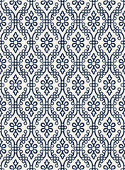 Indigo dye woodblock printed seamless ethnic floral damask pattern. Traditional oriental ornament of India Kashmir,  geometric flowers and ogee molding, navy blue on ecru background. Textile design.