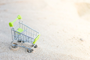 Shopping cart on the beach, Summer sale concept, for promotion