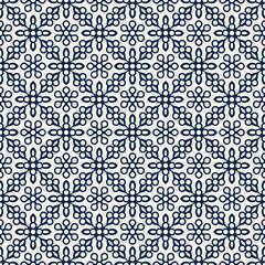Indigo dye woodblock printed seamless ethnic floral damask pattern. Traditional oriental ornament of India Kashmir, geometric flowers, navy blue on ecru background. Textile design.