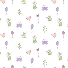 Cute seamless pattern on white background.