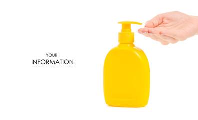 Bottle with soap dispenser female hand pattern