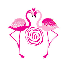 Vector illustration of an enamored pink flamingo