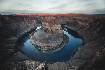 Famous rock formation of Horseshoe Bend with blue colorado river in Havasu area by Page, Arizona USA