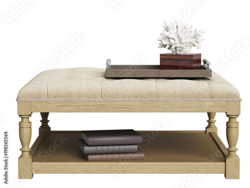 Prime Classic Tufted Coffee Table With Coral In Tray Isolated On Beatyapartments Chair Design Images Beatyapartmentscom