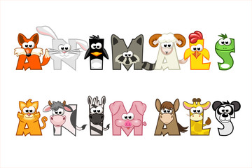 Funny cartoon word animals, set funny letters
