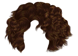 trendy woman curly hairs brown brunette colors . fringe. fashion beauty style.realistic 3d .