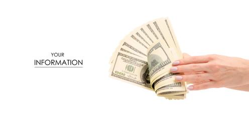 A bundle of money dollars in hands pattern