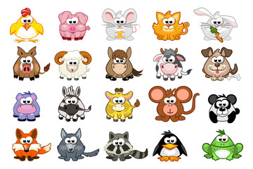 big set cute cartoon triangular animals