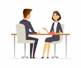Job interview - cartoon people character isolated illustration