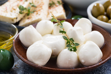 Fresh mozzarella cheese on a plate, close-up
