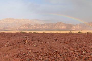 Big rainbow in desert, Israel, Timna park