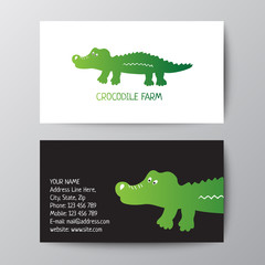 Business card design template with crocodile. Business card for your company. Colorful template for you design, web and mobile applications.