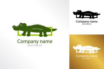 Crocodile logo template. Logotype alligator reptile. Three variants of the logo. It can be used as - logo, pictogram, icon, infographic element.