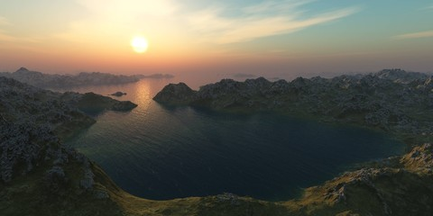 sunset over the bay among the mountains,