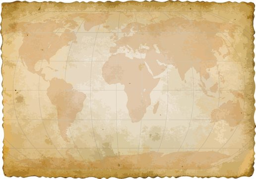 world map on old sheet of paper