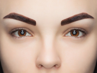 Portrait of a woman with beautiful, well-groomed eyebrows, after dyeing a beauty salon. Professional eyebrow care, dyeing and permanent make-up.