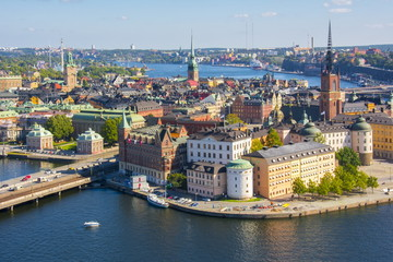 Deurstickers Stockholm Stockholm old town (Gamla Stan) panorama from City Hall top, Sweden