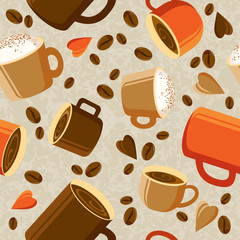 Cups of coffee or tea, coffee beans, hearts on a light background. Bright coffee background. seamless texture. Vector illustration. Eps 10.