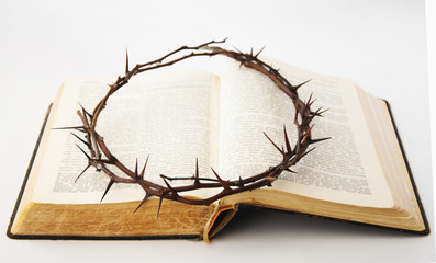 Crown of thorns on the bible (religion, Christianity, faith concept)