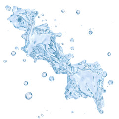Water splash with water droplets isolated. Clipping path included. 3D illustration