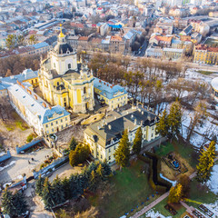 winter view of old church. birds eye view