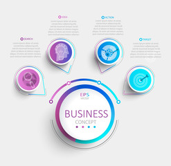 Modern infographic with business timeline data visualization.Diagram with 4 steps,options,parts and processes.Template for presentation,workflow layout,banner,web design.Vector illustration.